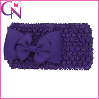 Wholesale Hair Weave Accessories, 4 inch Bowknot Decorated Solid Color Crochet Baby Headbands