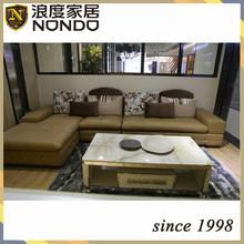 Hotel furniture teak wood furniture leather sofa AV072