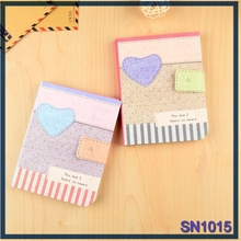 Newest Design stationery item fresh love pattern dairy book fabric wholesale notebook factory