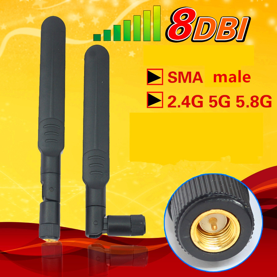 New Dual Band 2.4 5.8Ghz 2dBi RP-SMA Omni Wifi Antenna for Wireless LAN Router