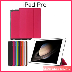 Full cover For iPad Pro Three Fold Flip Leather Case, For Apple for iPad Pro 12.9 Inch Smart Stand Cover