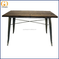 Vintage Industrial Metal Leg Dining Wood Table Rustic Dining Table