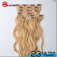 2015 Best Sale Double Sewing Factory Price 120g 160g 200g 260g 22 inch clip in human hair extension