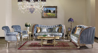 Palace Retro Living Room Sofa Set, Unique Design Solid Wood Hand Carving Sofa, Luxury Royal Sofa Set With Single Chair