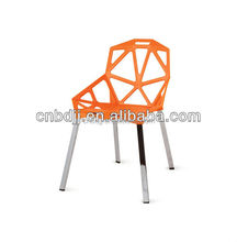 High quality Cheap triangle shape engraving plastic chair with chrome legs stackable plastic chair outdoor chair