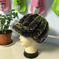 Hot selling fashion knitted rex rabbit fur hat for winter