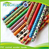 wholesale colorful pvc cover wooden broom stick with Italian screw