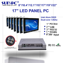 Aluminum 17 inch dual core industrial touch panel pc, pc computer, with 1*PCI slot, 3*RS232,1*RS485, 2*LAN,4*USB,DC12V or DC8-30