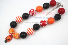 Plastic crystal trimming kid girl chunky necklace for baby Halloween Pumpkin pendant chunky necklace