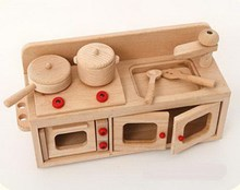 Económico exportación de madera simple de cocina utensilios de cocina juguetes