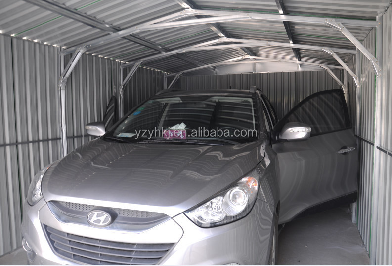 Metal roof steel frame cheap prefab carport of attractive for Cheap 2 car garage kits