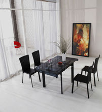 Space-Saving Grey Glass Mirrored Dining Table And Chair Set, JM808D-2