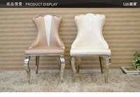 Hotel retro neo classical European style dining leisure negotiation table and chair upholstered stainless steel chair