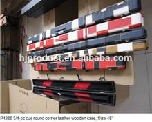 3/4-pc caso de sinalização, rodada de canto de couro caso de madeira