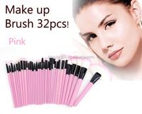 32 PCS pink makeup brushes Set Cosmetic Pencil Lip Liner Make Up Kit Holder Bag