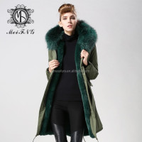 Wholesale fashion faux fur jacket black with fur collar