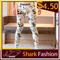 Shark Fashion male winter tights full printing fancy leggings for man