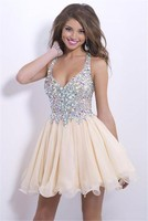 Sexy V-Neck Crystal beaded Organza cocktail dress FXL-021
