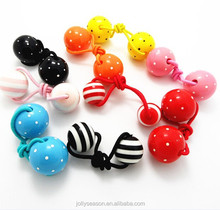 Boutique Kids child hair tie accessories Ball bead ponytail holders stripe polker dots thick hair large elastic hair band