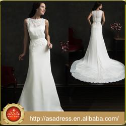 AMS41Plus Size Custom Made Tanks Style Bridal Wedding Dress Simple Chiffon Satin vestidos de inverno