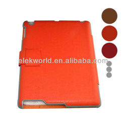 Colored Grain leather hard protect cases with clip belt for iPad 2