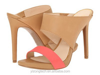 JUSITY Latest design nude color women girls high heel slipper sandals for summer 2015