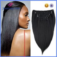 Wholesale soft light yaki Indian remy clip in hair extension