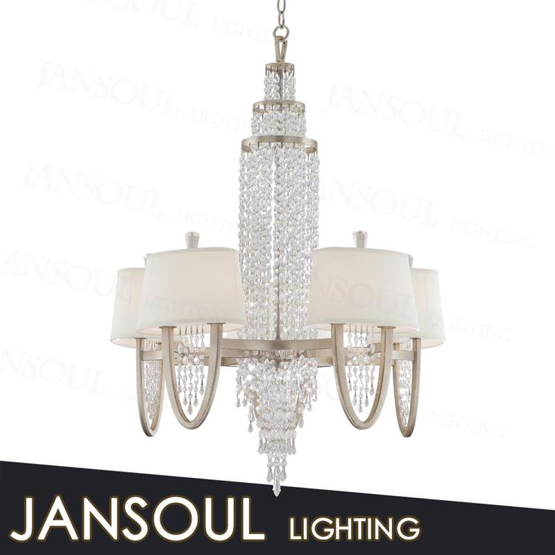 Beautiful White Crystal Decorative Hanging Pendant Light Wrought Iron Chandelier For Homehotel