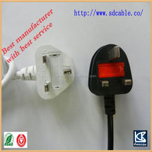 250V 13A ac power cable bs 136 power cord with iec c7 8 shape power cord BSI approveb uk power cable