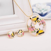 Duoying Factory Gold Filled Enamel Jewelry Set Butterfly Painting Oil Wholesale 1 Piece Luxury Gifts