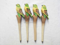 wholesale unique wooden animal bird carved ball pen