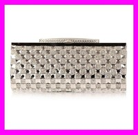 New graceful women evening party silver crystal clear clutch bag HD1131