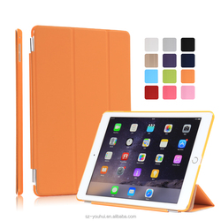 High Quality Colorful Smart Tripled Folded Flip Cover Auto Wake Up Case for iPad Air 2 for Apple Tablet 6