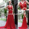 nuevo estilo de una línea de cuello en v de color rojo de barrido vestidos de fiesta de quince años