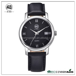 Brand black leather strap new design fashion date girls watch china factory