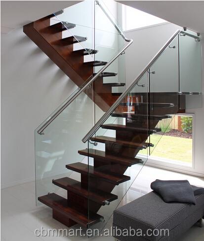 계단 난간 강화 유리 목재 단계 스테인리스 난간 실내 계단 ...