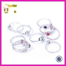 Fashion silver jewelry set design mixed thin ring set with colorful zircon