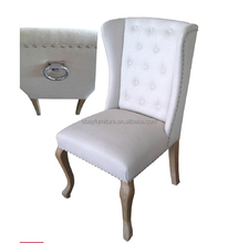French country style button tufted fabric dining chair/handle attached fabric french dining chair
