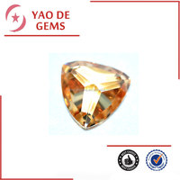 Machiner cut shining champagne CZ loose gemstones in stock