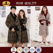 Simple Luxury coral fleece leopard couples terry bathrobe