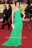 Celebrity Inspired Emily Blunt 2012 SAG Awards Red Carpet Green One Shoulder Evening Party Dress