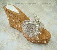 Handmade Rhinestone Bridal Shoes Beaded Wedge Wedding Shoes 3.5 inches Heel high/Size 4.5-10