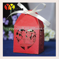 wedding party decoration favor candy boxes laser cut paper craft gift boxes with ribbon 100pcs/lot