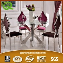 TH383 2015 Hot Sale stainless steel tempered glass dining table