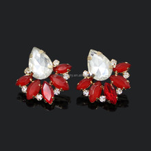 New Arrival Stud Earrings Bling Shiny Red Crystal Ladies Earrings Design Pictures 3 Colors