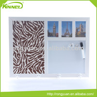 3 Photo frames and 4 hooks suede fabric school notice board decoration