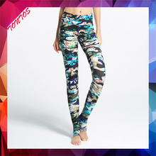 silk screen printing colorful yoga pants mature women legging