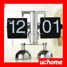UCHOME Retro Modern Metal Scale Digital Auto Flip Single Stand Desk Table Clock