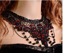 XLL-001Yiwu Caddy Fashional Europe gothic black lace exaggerated ruby ball necklace