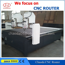 High tech! 3 axis two spindle heads wood furniture/door/floor board/coffins processing machine mini cnc router price